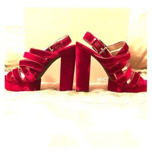 Michael Kors ❌ Red Velvet Strappy Sandals ♥️